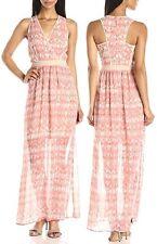 Calvin Klein Porcelain Rose/Latte V-Neck Semi-Sheer Chiffon Maxi Dress - $149.50