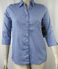 Black Pepper Blue Check Cotton 3/4 Sleeve Shirt Tunic Top Size 12 14 BNWT # J100