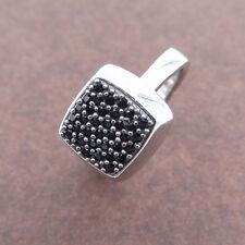 Anello da donna in argento 925 anelli a pavè con zirconi neri rodiato oro bianco