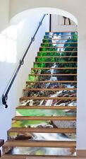 3D Fluss Dschungel Stair Risers Dekoration Fototapete Vinyl Aufkleber Tapete DE