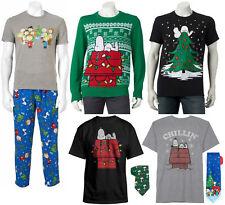 Peanuts Snoopy Christmas Pants T-Shirt Sweater Tie - Men's S M XXL - New w/Tags!