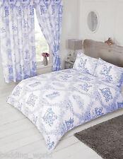 Toile de jouy bleu blanc floral scène campagnarde cheval chien literie ou rideaux