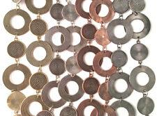 Flat Circle Coin 50 inch Chain Necklace Antique Copper Silver Brass Gun Metal Q1