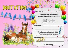 5 - 12 ou 14 cartes invitation anniversaire cheval chat réf 451