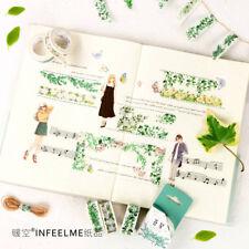 DIY Washi Masking Tape 5/ 7 Meter Paper Sticker Green Plant Lift Decor Scrapbook