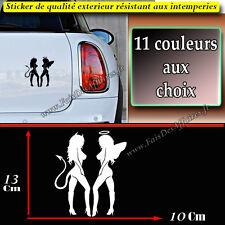 stickers autocollant HUMOUR silhouette femme ange démon