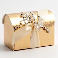 LUXURY GOLD PELLE CHEST WEDDING FAVOUR PARTY BOXES -CHOOSE QUANTITY