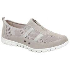 Boulevard Ladies Womens Centre Zip Mesh Casual Comfortable Trainer Shoes Beige