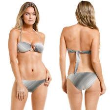 $184 VIX Black Illusion Stripe O-Ring Bandeau Top & Bottom Swimsuit Bikini Set