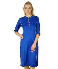 Bimba Women Chic Style Kurta Kurti Solid Color Top Tunic Boho 3/4 Sleeve Indian