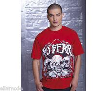 No Fear Mens Red Grey Black White Skull Graphic T Shirt Top Free UK Ship Medium