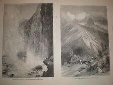 Vistas las cataratas del Niágara Cueva de los vientos & piloto Perilla de California 1881 impresiones viejo EE. UU.