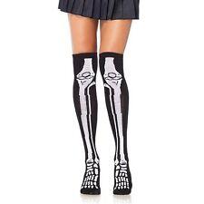Cotton Blend Skeleton Print Over The Knee Socks