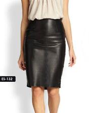 Genuine Soft Lambskin Supremely Sleek Leather Pencil Skirt