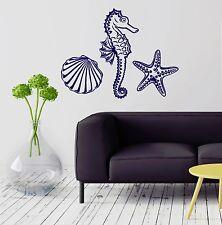 Wall Decal Marine Animal Seahorse Starfish Seashell Vinyl Stickers (ig2872)