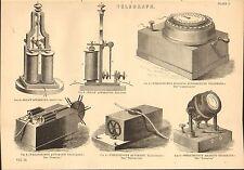 1868 PRINT ~ TELEGRAPH RELAY APPARATUS WHEATSTONE'S RECEIVER TRANSMITTER