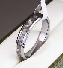 BOXED Genuine Tungsten Carbide Ring Inlay Mens Wedding white size M O Q S T W V