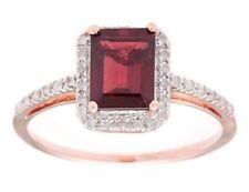 10k Rose Gold Emerald-Cut 2.20ct Garnet and Pave Diamond Ring