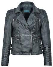 Ladies Leather Jacket Grey Vintage Gothic Biker Style 100% REAL NAPA 7120