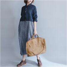 Vintage Women Shirt Dress Long Loose Casual Blouse Striped Spliced Linen Cotton