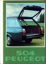 PEUGEOT 504 ESTATE 1978 SALES BROCHURE