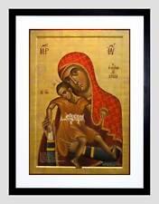 La PITTURA kykkos icona Gesù Cristo Vergine Nero Incorniciato ART PRINT PICTURE b12x8163