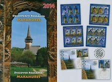Rumänien 2014 Entdecke Maramuresch Mi.6832-35,Zf.,KB-Satz,Block 595,FDC,MK