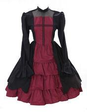 JL-655 Schwarz rot langarm Vampir Dark Gothic Lolita Kleid Kostüm Cosplay Larp