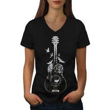 Guitar Forest Bird Women V-Neck T-shirt NEW | Wellcoda