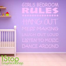 camera da letto bambina rules muro adesivo CITAZIONE - Ragazze STANZA bebè