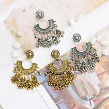 Fan Shape Dangle Long Drop Jewelry Retro Bells Tassel Earrings India Jhumka Half