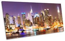 Purple New York City Sunset  PANORAMA CANVAS WALL ART Picture Print