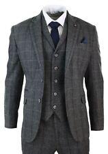 Costume 3 pièces homme tweed classique à chevrons et carreaux gris bleu cintré