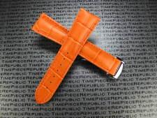 New 20mm 22mm Leather Deployment Strap Orange Watch Band Set OMEGA Seamaster OR