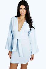 865c72acac0b Womens New Boohoo slim dress plunge mono nude mini kimono bell sleeve tunic  10 M