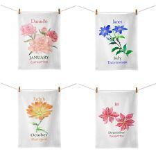 Personalised Flower of The Month Tea Towel Variation