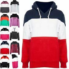 Womens Pullover Contrast Panel Ladies Hoodies Hooded Sweater Stretchy Sweatshirt
