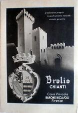 1940s VINO BROLIO CHIANTI CASA BARONE RICASOLI FIRENZE