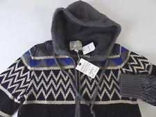 Lucky Brand Sierra Sherpa Knit Hoodie $149 Sherpa Lined Hood NWT Gray Tan Print