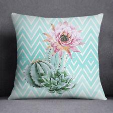 S4Sassy Home Decor Floral Cactus Print Square Aqua Pillow Case Cushion Cover