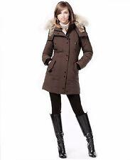 """Rudsak """"Auralie"""" Real-Fur-Trim Leather-Trim Coat Brown/Black"""