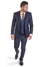 Slim Fit Men Suit 3 Piece Vested Plaid Navy Blue Notch Lapel Double Vents AZAR