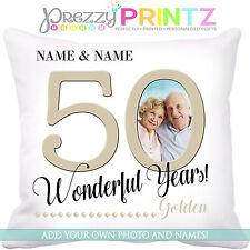 ❤ Cuscino Personalizzato Anniversario 50TH Golden Wedding Amore Mr & Mrs regalo foto ❤