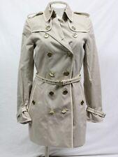 Burberry London trench coat size 2 beige belted white trim Hampdenltpb