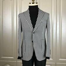Summer Mens Black&White Cotton Linen Suits Peak Lapel Collar Leisure Blazer Coat
