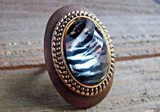 Large Ring Zebra Animal Print Rhinestone Statement Wood Metal Fashion Jewelry
