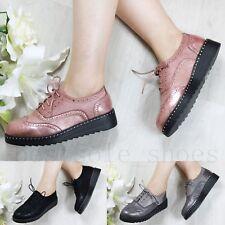 Femme Femmes Lacets métallique Chaussures Compensées Plates Chaussures mocassins creepers taille
