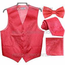New Men's Vesuvio Napoli Paisley Tuxedo Vest Necktie, Bowtie & Hankie set Coral