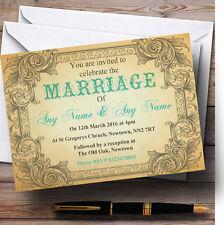 Typography Vintage Turquoise Postcard Personalised Wedding Invitations