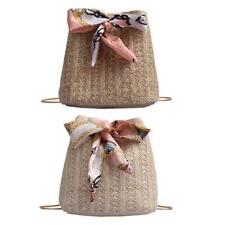 Straw Weaving Shoulder Messenger Handbags Women Casual Bucket Crossbody Bag